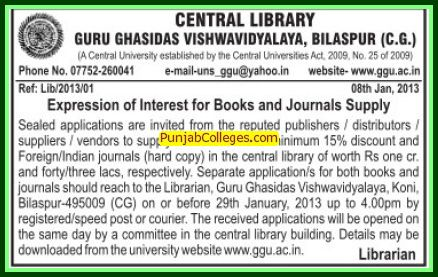 Supply of books and journals (Guru Ghasidas University)