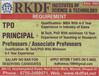 Principal and Asstt Professor (RKDF Institute of Science and Technology)