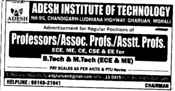 Asstt and Asso Professor (Adesh Institute of Technology)