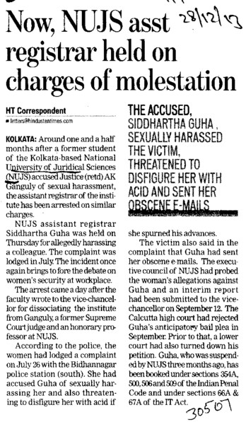 NUJS asst registrar held on charges of molestation (West Bengal National University of Juridical Sciences)