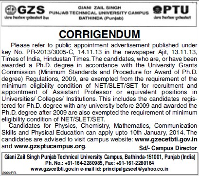 Asstt Professor posts (Giani Zail Singh College of Engineering and Technology GZCET)