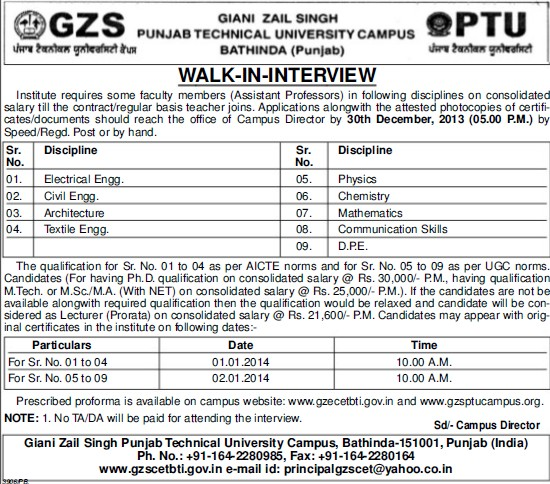 Asstt Professor for Electrical Engg (Giani Zail Singh College Punjab Technical University (GZS PTU) Campus)