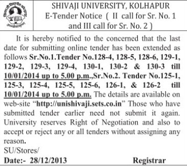 Submission of tender date extended (Shivaji University)