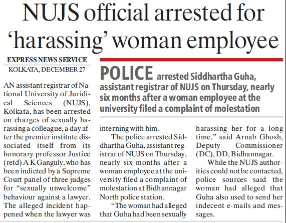 NUJS official arrested for harassing woman employee (West Bengal National University of Juridical Sciences)