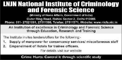 Supply of Manpower (Lok Nayak Jayaprakash National Institute of Criminology and Forensic Science)