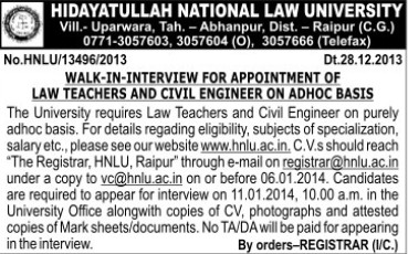 Civil Engg on contract basis (Hidayatullah National Law University (HNLU))