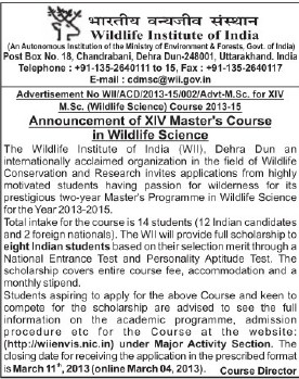 XIV Masters Course (Wildlife Institute of India (WII))