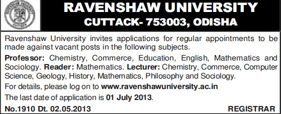 Professor and Reader (Ravenshaw University)