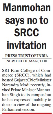 Manmohan says no to SRCC invitation (Shri Ram College of Commerce)