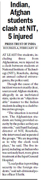 Indian afghan students clash at NIT, 5 injured (National Institute of Technology (NIT))