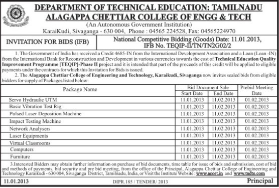 Supply of Computers and Laser Equipments (Alagappa Chettiar College of Engineering and Technology)