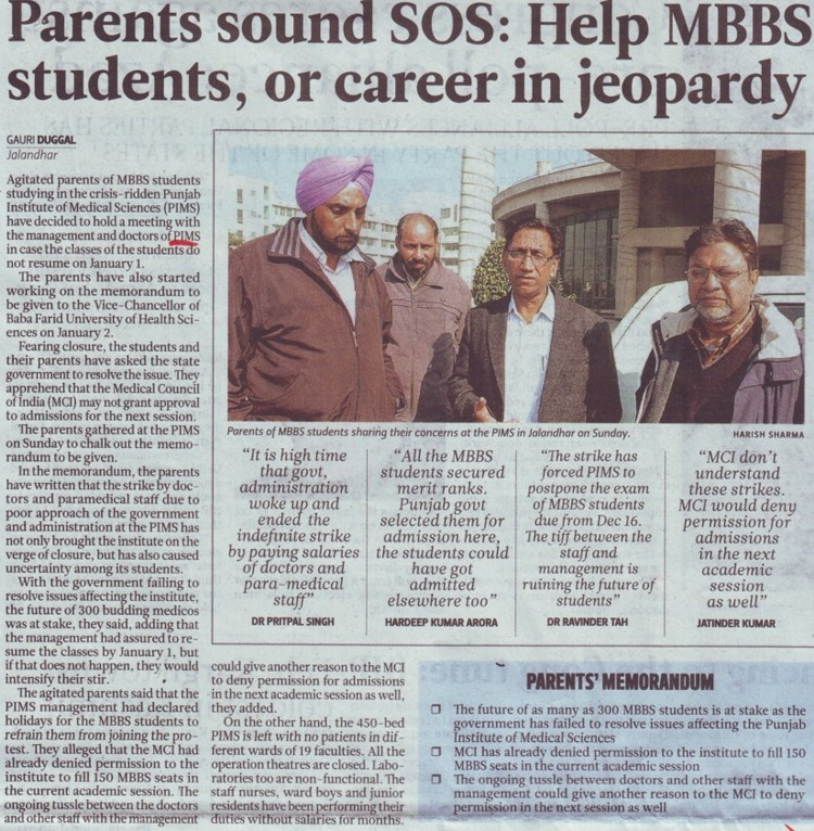 Parents sound SOS, help MBBS students or career in Jeopardy (Punjab Institute of Medical Sciences (PIMS))