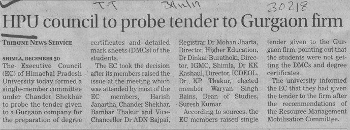 HPU Council to probe tender to Gurgaon firm (Himachal Pradesh University)