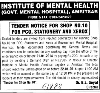 Supply of Stationery items (Institute of Mental Health (Government Mental Hospital))