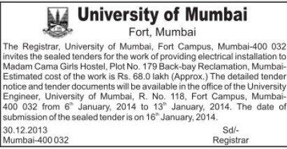 Installation of Girls hostel (University of Mumbai)
