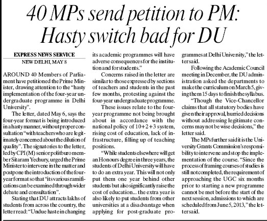 40 MPs send petition to PM (Delhi University)