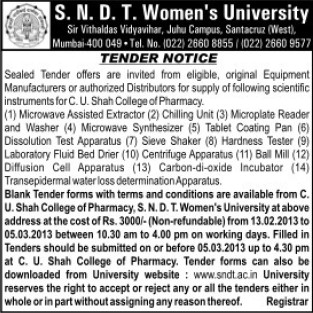 Supply of Microplate Reader (SNDT Women University)