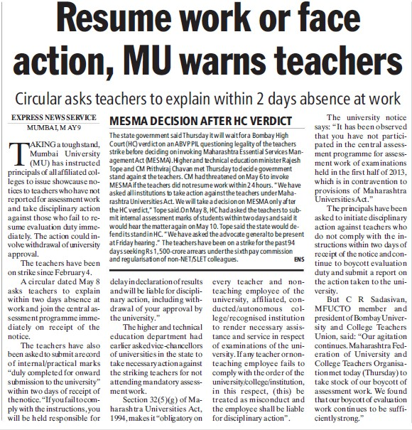 Resume work or face action, MU warns teachers (University of Mumbai)
