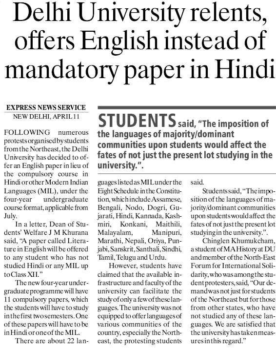 DU relents, offers English instead of mandatory paper in Hindi (Delhi University)