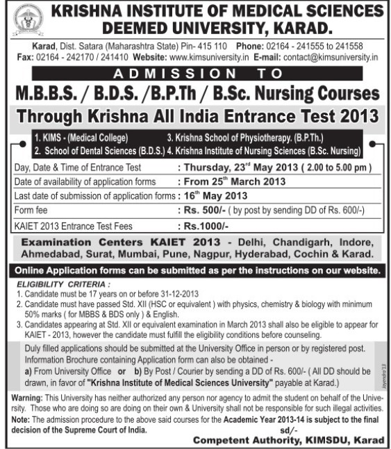 BSc and B PTh (Krishna Institute of Medical Sciences University KIMS)
