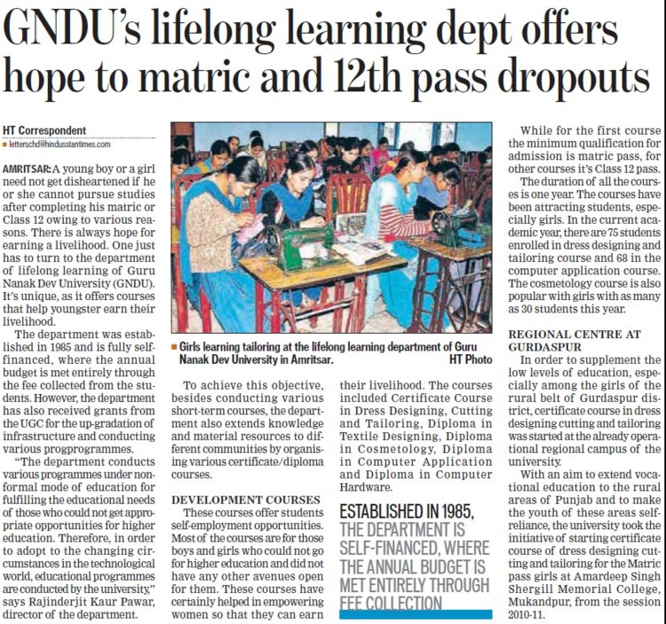 GNDUs lifelong learning dept offers hope to matric and 12th pass dropouts (Guru Nanak Dev University (GNDU))