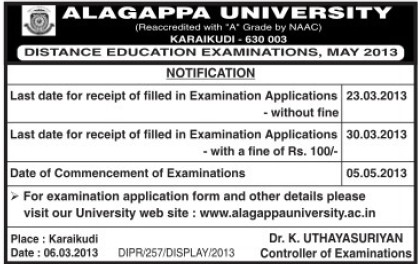 Distance Education Examination 2013 (Alagappa University)