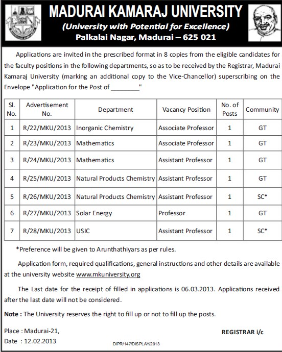 Asstt Professor for Solar Energy (Madurai Kamaraj University)