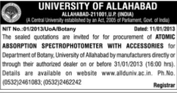 Supply of Atomic Absorption Spectrophotometer (University of Allahabad)