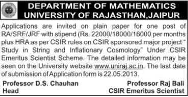 RA, SRF and JRF (University of Rajasthan)