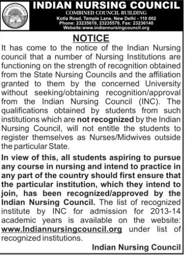 Regarding Affliation of Colleges (Indian Nursing Council (INC))