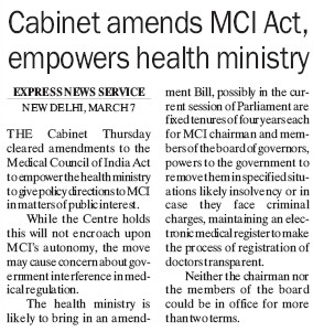Cabinet amends MCI act empowers health ministry (Medical Council of India (MCI))