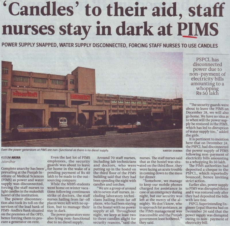 Candles to their aid, staff nurses stay in dark at PIMS (Punjab Institute of Medical Sciences (PIMS))