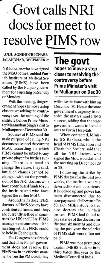 Govt calls NRI docs for meet to resolve PIMS row (Punjab Institute of Medical Sciences (PIMS))