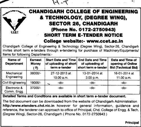 Machinery Equipments (Chandigarh College of Engineering and Technology (CCET))