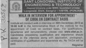 Cook on contract basis (Sant Longowal Institute of Engineering and Technology SLIET)
