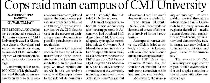 Cops raid main campus of CMJ University (Chander Mohan Jha (CMJ) University)