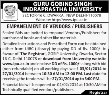 Purchase of books (Guru Gobind Singh Indraprastha University GGSIP)