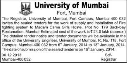 Installation of Fire fighting system (University of Mumbai (UoM))