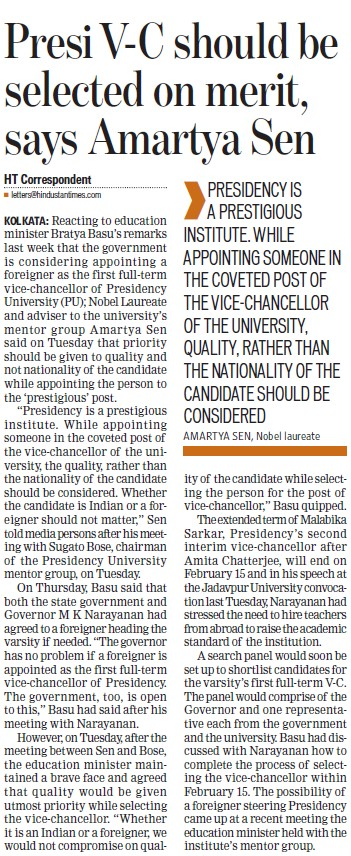 VC should be selected on merit, Amartya Sen (Presidency University)