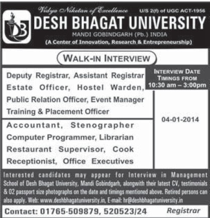 Hostel Warden and PRO (Desh Bhagat University)