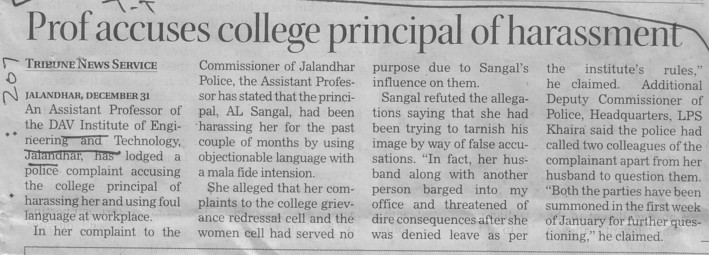 Prof accuses college Principal of harassment (DAV Institute of Engineering and Technology DAVIET)