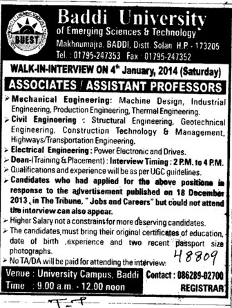 Asstt Professor for EE (Baddi University of Emerging Sciences and Technologies)