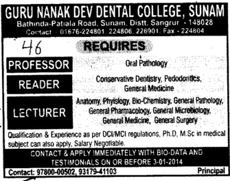 Reader and Lecturer (Guru Nanak Dev Dental College)