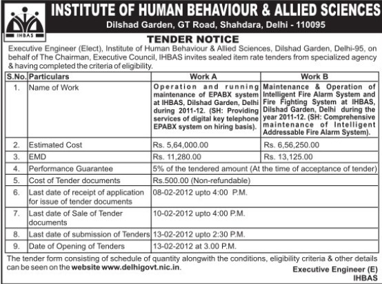 Maintenance of EPABX system (Institute of Human Behaviour and Allied Sciences)
