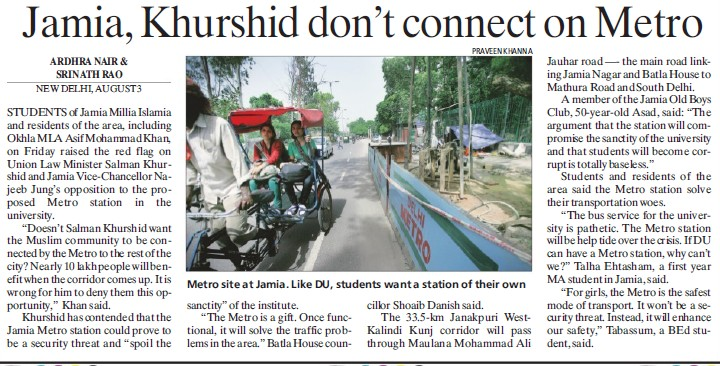Jamia, Khurshid dont connect on Metro (Jamia Millia Islamia)