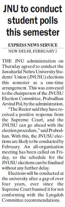 JNU to conduct student polls this semester (Jawaharlal Nehru University)