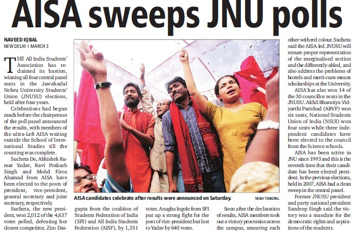 AISA sweeps JNU polls (Jawaharlal Nehru University)