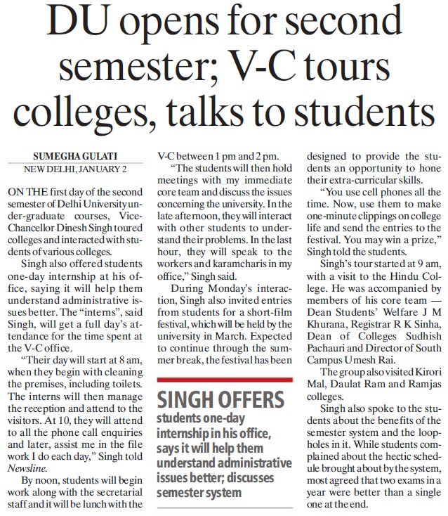 DU opens for second sem, VC tours colleges, talks to students (Delhi University)