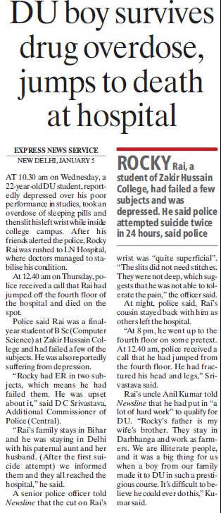 DU boy survives drug overdose, jumps to death at Hospital (Delhi University)