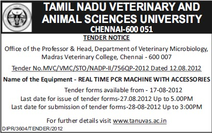 Supply of Real time PCR machine with accessories (Tamil Nadu Veterinary and Animal Sciences University, MADRAS VETERINARY COLLEGE)